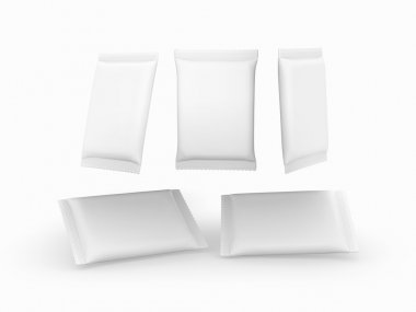 White plain flow wrap packet with clipping path
