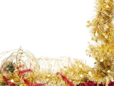 Christmas frame of shining golden tinsel