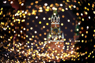 Christmas night Moscow atmosphere holiday background