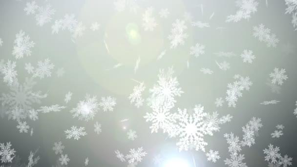 Vánoční sněhová koule vločka s sněžení na bílém pozadí