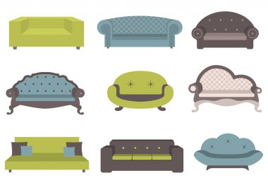 Sets of colorful sofa, vector illustration, furniture for an interior, living room. stock vector