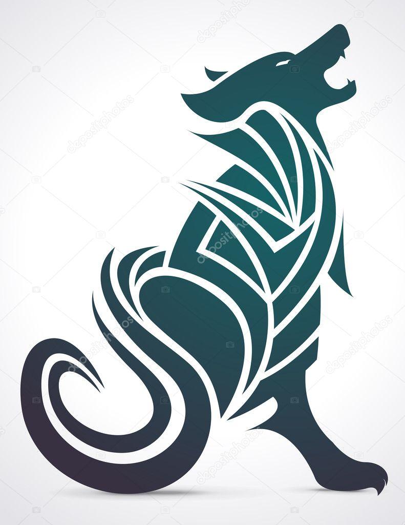 201186378 Wolf howling tribal tattoo design — Stock Vector © raphiko #32499083