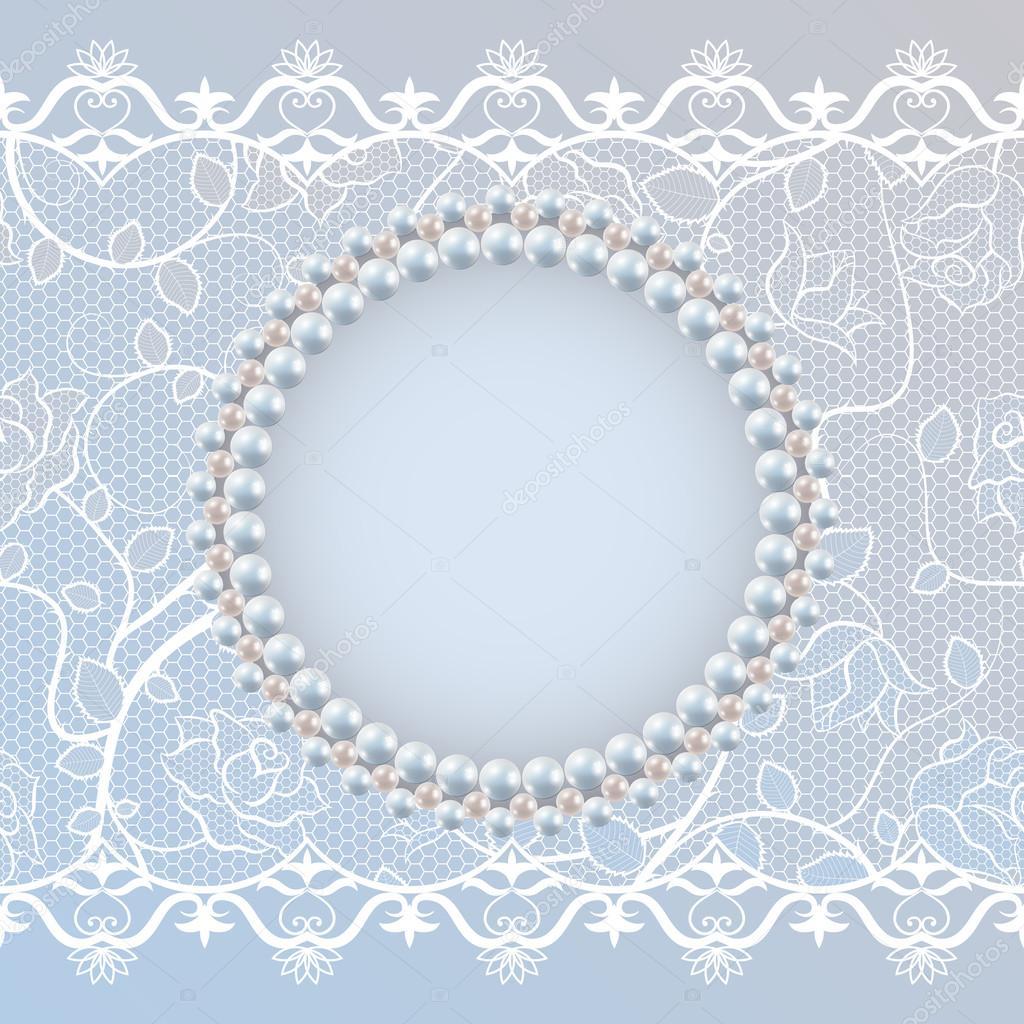Vorlage Für Hochzeit Grußkarten Oder Einladung Karte Mit Spitze Und Perlen  Rahmen U2014 Stockvektor #44908113