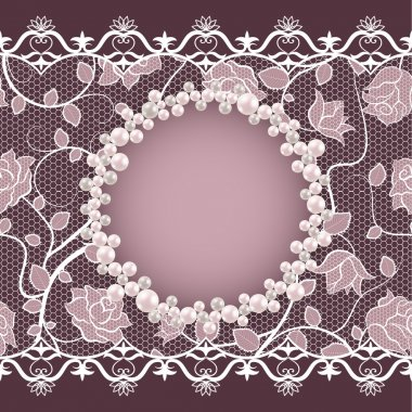Vintage card with lace and pearl frame