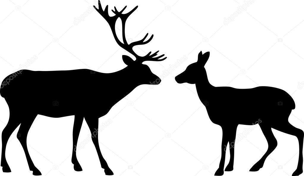 two deer love silhouettes stock vector mrs opossum 34043943 rh depositphotos com Deer Silhouette Vector Deer Head Vector