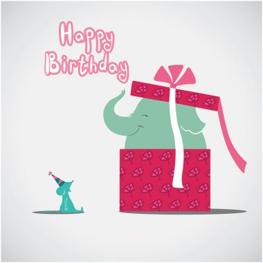 Elephant and mouse: happy birthday card