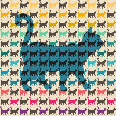 Seamless pattern. Texture with colorful cats with curved tails.