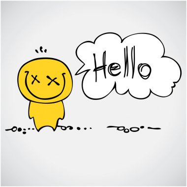 Cartoon smiling colorful hello