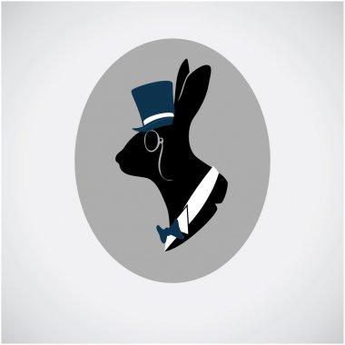 Vintage hare portrait in topper