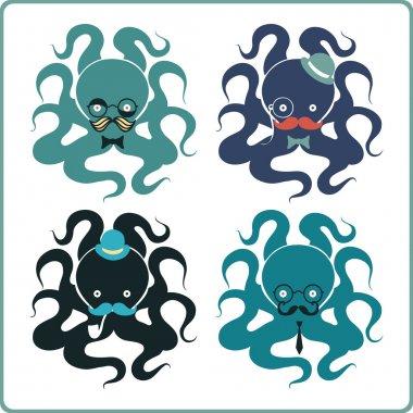 Set of elegant octopuses