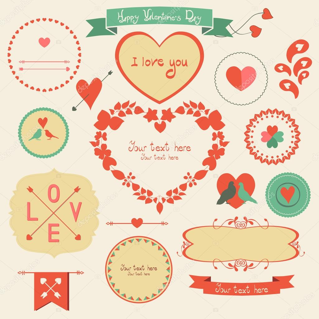 Valentines day retro graphic design elements