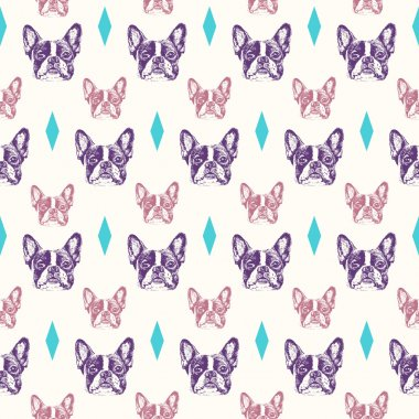 French bulldog seamless pattern
