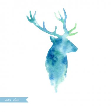 Watercolor deer head