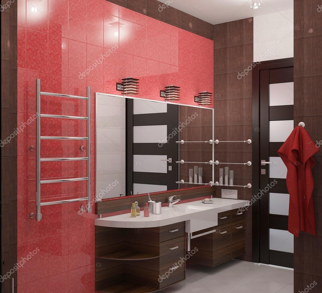 Bagno con piastrelle rosse foto stock lenkina 33280893 - Piastrelle rosse lucide ...
