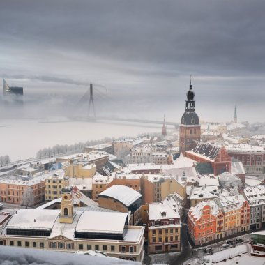 Areal view on Riga in fog, Latvia