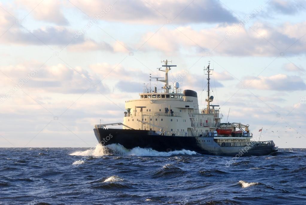 soviet ice-breaker in open sea