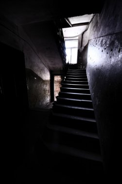 Old staircase in dramatic light