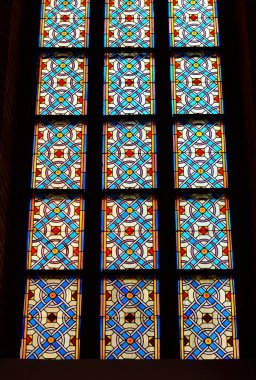 Stained glass windows in old Gothic church