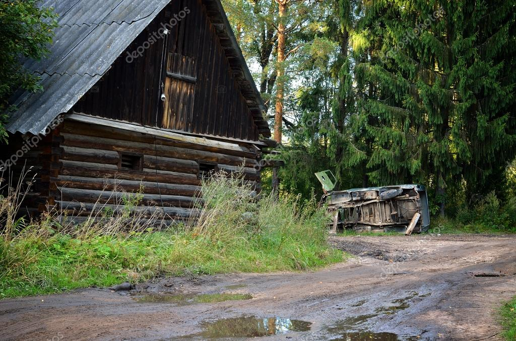 Old abandoned village scene in Russia