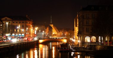 water chanel and streets in Strasbourg at night
