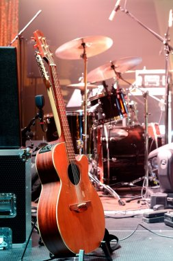 Guitar and other musical equipment on stage