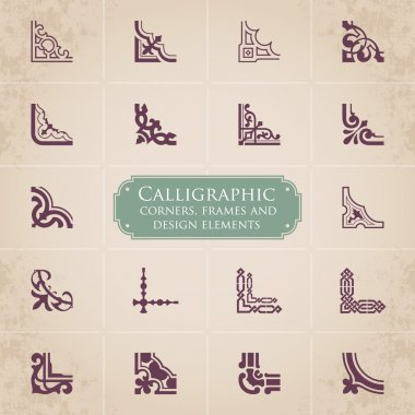 Calligraphic corners, frames and design elements set 1