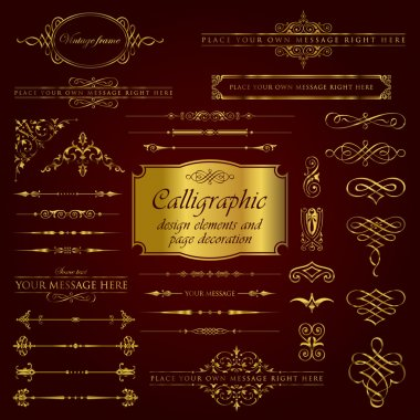 Golden calligraphic design elements and page decoration set 1