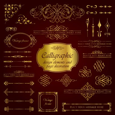 Golden calligraphic design elements and page decoration set 2