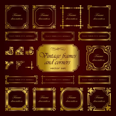 Golden vintage frames and corners - set 1