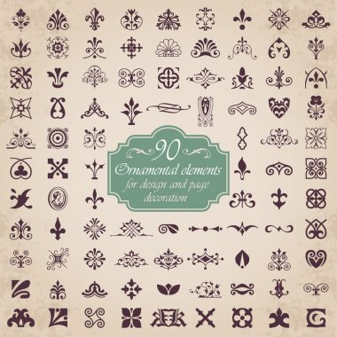 90 Ornamental elements for design and page decoration