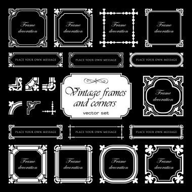 Vintage frames and corners isolated on black background - set 1