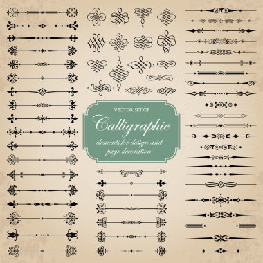 Vector set of calligraphic elements for design and page decoration