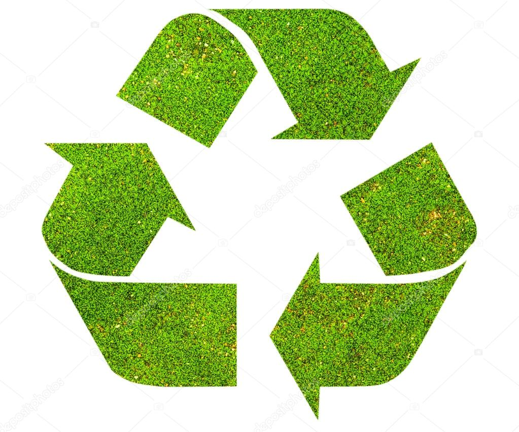 Recycle Symbol With Green Moss Texture Stock Photo