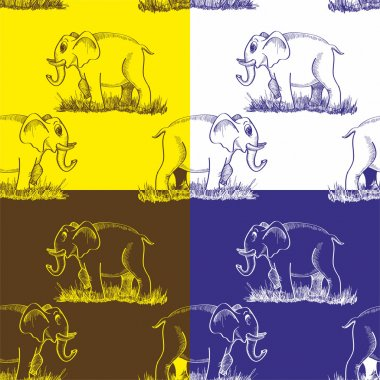 Pattern with a painted elephant