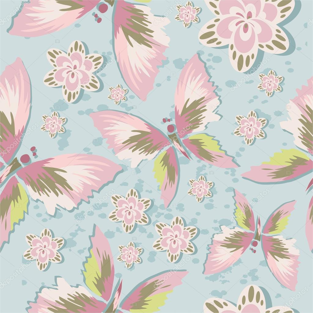 Pattern with stylized butterfly delicate flowers