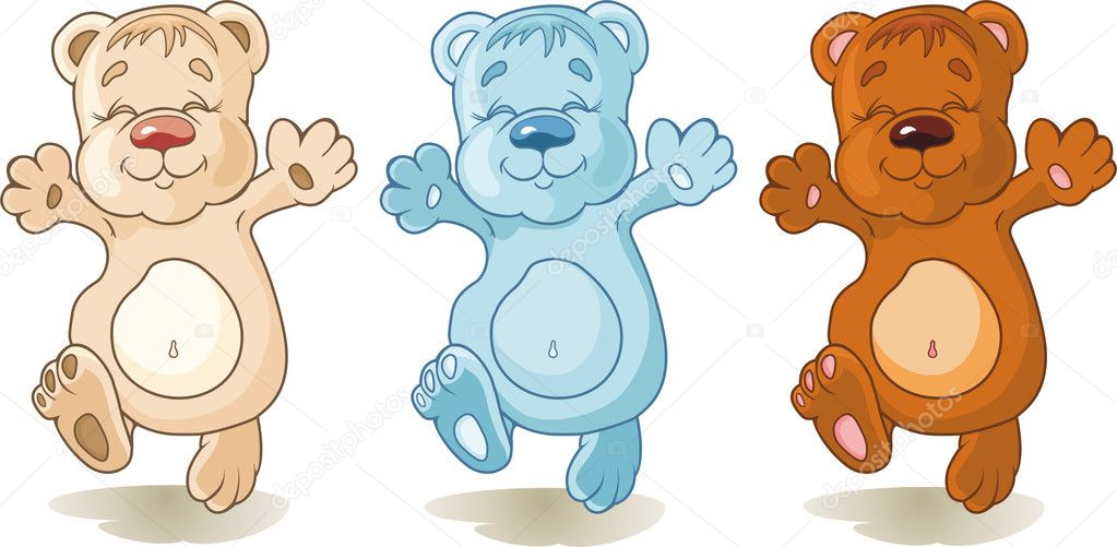 Set of colorful funny bears