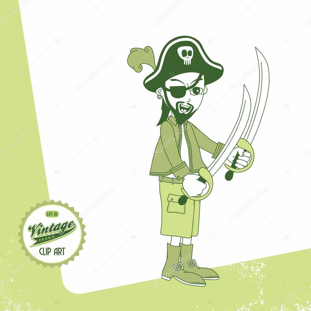 pirata con espada dos — Archivo Imágenes Vectoriales © vectorfirst ...