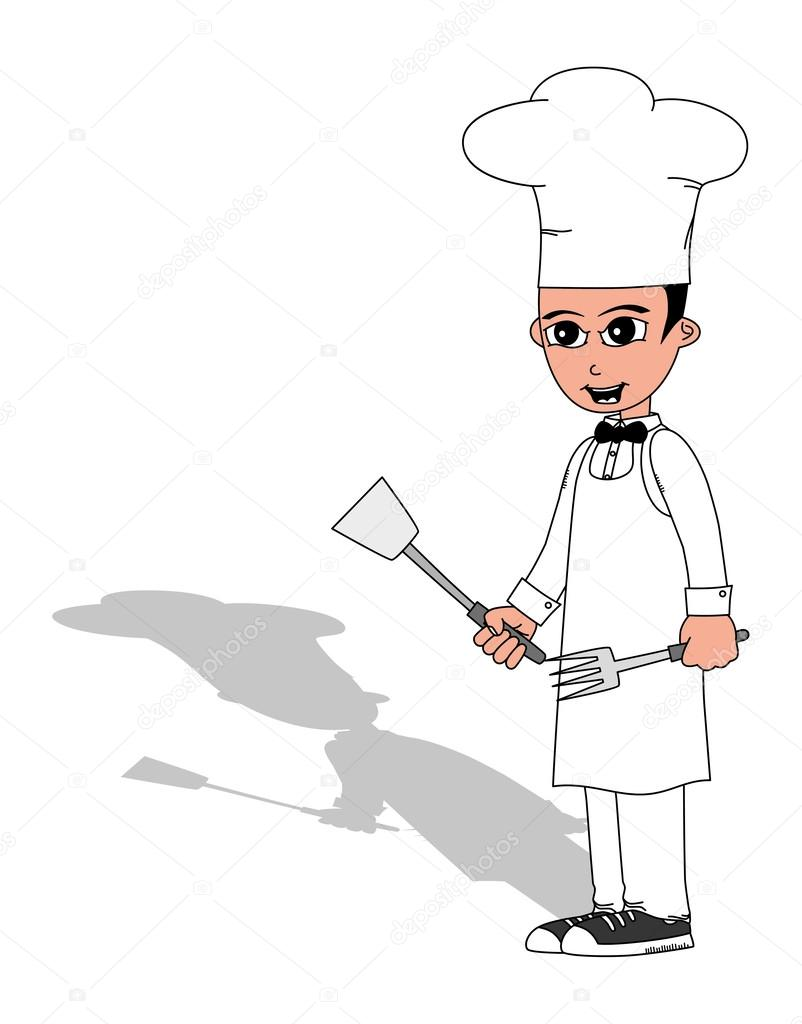 Chef y utensilios de cocina vector de stock for Utensilios de chef
