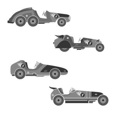 Retro race car color set