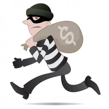 Burglar running away with his swag
