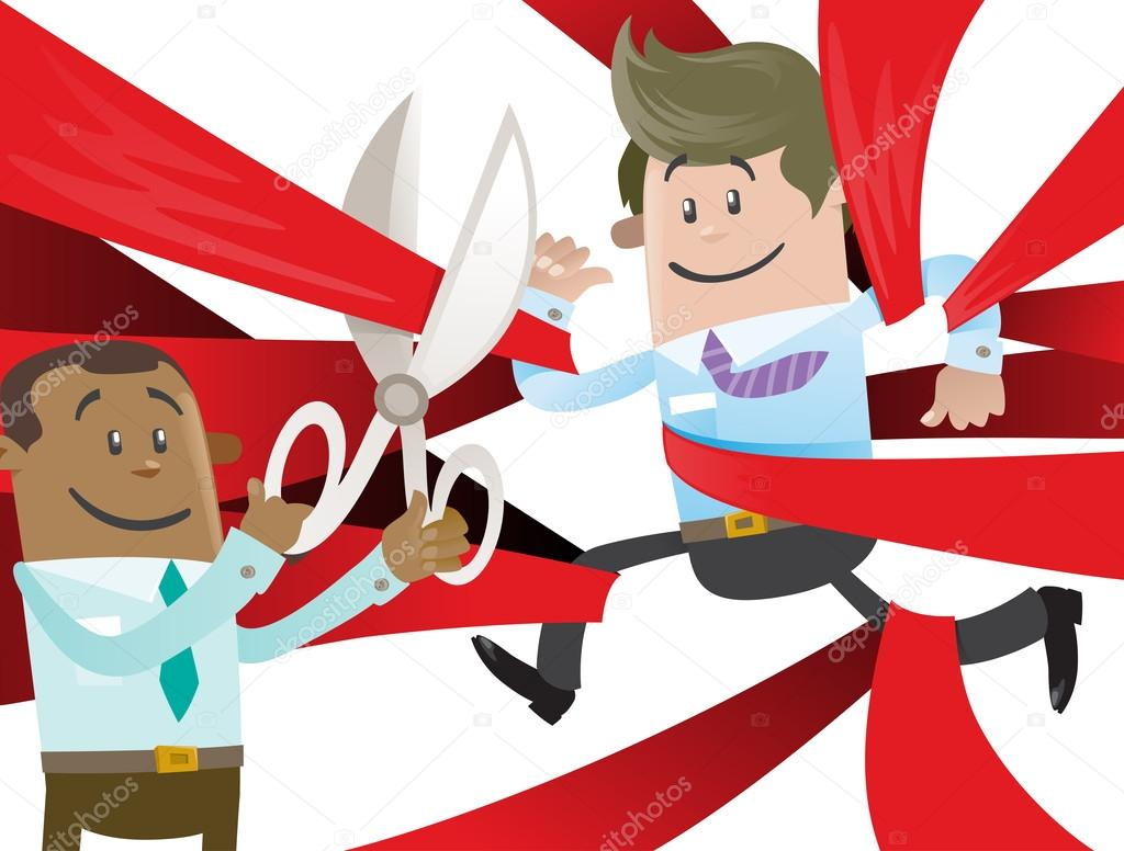 民族のビジネス仲間は赤テープから自由にカットします。 — ストック