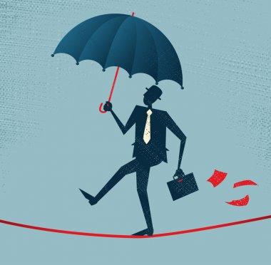 Abstract Businessman walks a precarious tightrope