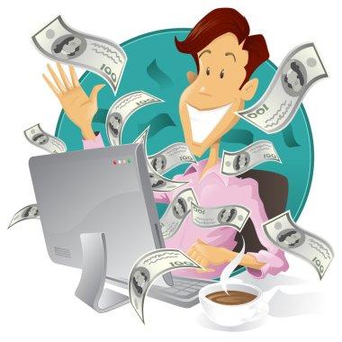 Happy businessman making money on the internet