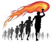 sportovci s hořící pochodní.