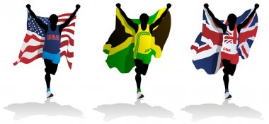 Three runners with flags