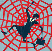Fotografie Abstract Businessman caught in a Spiders Web
