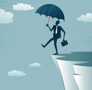Abstract Businessman walks off a cliff