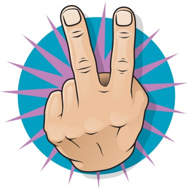 Vintage Pop Two Fingers Up Gesture. Great illustration of pop Art comic book style Two Fingers Up gesturing negative and obscene dissatisfaction. stock vector
