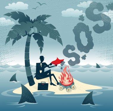 Businessman sends Smoke Signals on an Island.