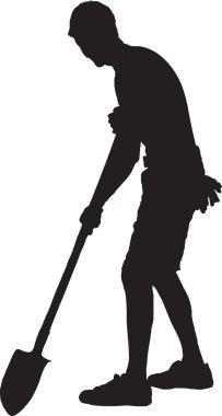 Vector-Man gardener, silhouette